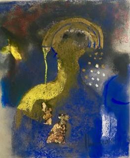 Elmar Rojas, Vendedora de Amuletos, pastel on paper with gold embellishment, 27.5 x 23.5 cm . Cortesía de Rojas Ford