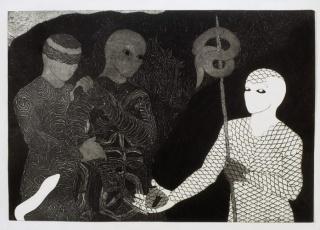 "Vamos (Let's Go), 1993, Collograph, 68,5 x 100 cm (27 x 39 "")."