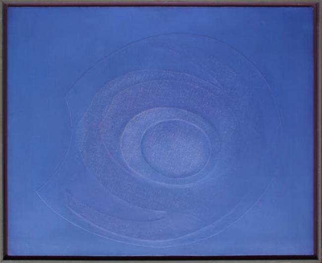 Salvador Victoria, Azul-O, 1968. Óleo/lienzo y cartón recortado encolado a tabla — Cortesía de la galería Tiempos Modernos
