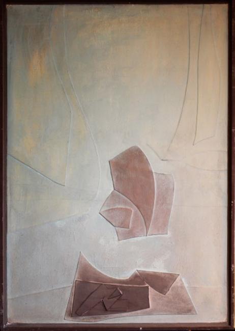 Salvador Victoria, Composición para noche de luna. Relieves poéticos, 1965. Óleo/tabla — Cortesía de la galería Tiempos Modernos