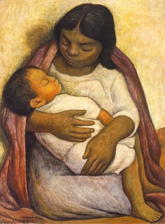 "Diego Rivera, ""Delfina y Dimas,"" tempera on masonite, 31 1/2 x 23 3/8 inches, 1935"