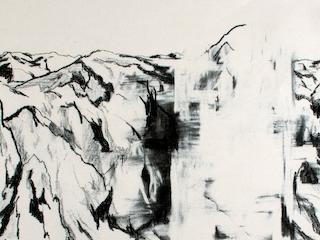 Hipótesis para la desaparición del pico Ojos del Salado (1600 m) Provincia de Catamarca, República Argentina, Jacques Bedel (detalle) — Cortesía del Museo Nacional de Bellas Artes de Chile (MNBA)