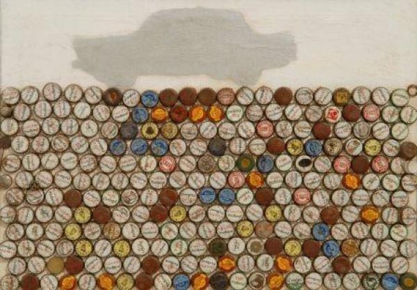 Lourdes Castro, Carro e Caricas, 1963, técnica mista sobre tela, 46 x 65 cm