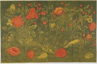 Jorge Nesbitt, Sans titre, 2017. Linocut on watercolour paper, 70,8x110,2 in. Photograph by Cintra & Castro Caldas — Cortesía de la Galerie Jeanne Bucher Jaeger