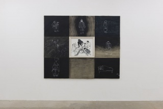 Nedko Solakov - Associates 1991, acrylic and white ink on canvas, wooden frame, polyptych in 9 parts - 180 x 219 x 5 cm. Photo by Oak Taylor-Smith
