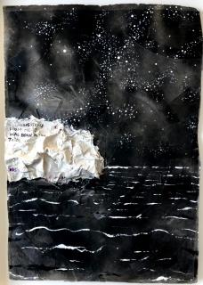 Manuel Valencia, Mar de Flores (noche) 35x50 cm. Tinta, collage y acrílico sobre papel de algodón y bambú hecho a mano, 2016-2019 — Cortesía de la galería de arte Utopia Parkway