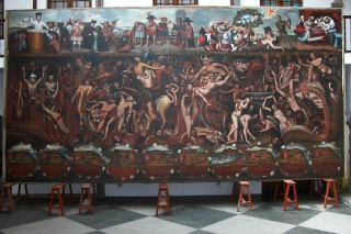 José López de los Ríos, El Infierno, oil on canvas, ca. 1664. Photo: Carlos Rúa Landa, Taller Nacional de Restauración de Bolivia, Ministerio de Culturas y Turismo
