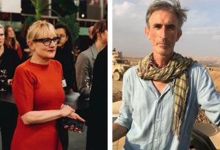 Image: (L) Hilde Teerlinck, Director of the Han Nefkens Foundation. (R) Francis Alÿs, Peshmerga embed, Mosul, 2016.