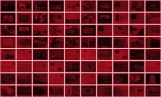 José Luis Landet. Copia de archivo Gómez B, 2016. inyección de tinta sobre papel vegetal rojo (80 piezas) 23 x 31 cm C/U — Cortesía de arróniz arte contemporáneo