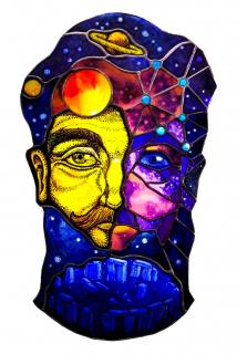 Diego Velasco Picasso / «Astrónomo» / vitral con grisalla / 55 x 23 cm. / 2021