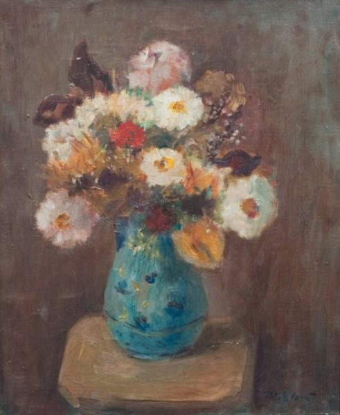 Ramon Gómez Cornet, Jarrón con flores. Óleo/Tela. 47 x 38 cm.