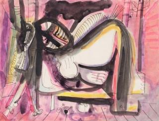 En las Galerías de la Universidad de Lehigh: Wifredo Lam, Mujer - Caballo Reclinada, c. 1946–47. Cortesía de Lehigh University Art Galleries.