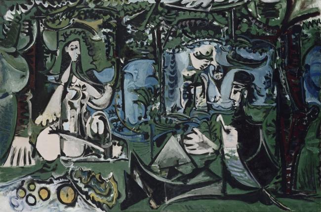 Pablo Picasso, Almuerzo sobre la hierba, según Manet, Vauvenargues, 1960. Óleo sobre lienzo, 130x195 cm. Musée national Picasso, Paris © RMN-Grand Palais (Musée national Picasso-Paris) / Jean-Gilles Berizzi © Sucesión Pablo Picasso, VEGAP, Madrid, 2017