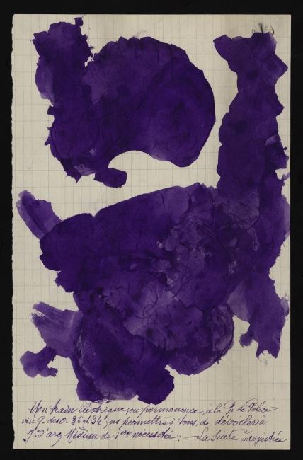 Jeanne Tripier, Sin título, entre 1935 y 1939. Tinta sobre papel, 21x13,3 cm. Foto: Jean-Marie Almonte, Atelier de numérisation – Ville de Lausanne. Collection de l'Art Brut, Lausana — Cortesía de La Casa Encendida