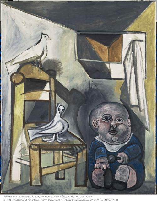 Pablo Picasso, L'Enfant aux colombes, 1943. © RMN-Grand Palais (Musée national Picasso-Paris) / Mathieu Rabeau © Sucesión Pablo Picasso, VEGAP, Madrid, 2018 — Cortesía del Museo Reina Sofía
