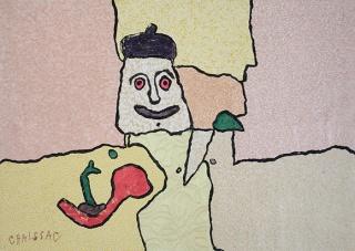 Gaston Chaissac, L'Homme au bêret, 1961-1962 – Cortesía de la Galeria Marc Domènech