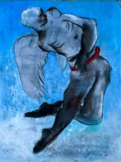 Sadikou Oukpedjo - Angels - 2018 - 160cm Alt x 122cm A - Acrílico y pasteles sobre cartón