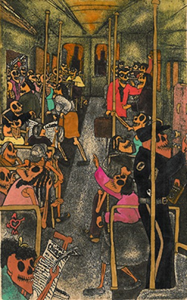 Nicolás De Jesús; En el Tren (In the Subway), 1990; Etching and aquatint on amate paper; 15 x 10 3/4 inches; Collection Friends of the Neuberger Museum of Art; Purchase College, State University of New York; Museum purchase with funds provided by the Frie
