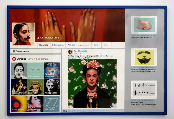 Ana Riaño, serie RRSS (Redes Sociales), 2015-2016. Ana Mendieta (Facebook) /artista Acrílico sobre papel, 115 x 165 cm. 2016. Aldama Fabre Gallery