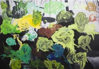 Jaguar Bar Days, 2019. Óleo sobre lienzo. 255 x 370 x 4,5 cm. (díptico) — Cortesía de la Galería Javier López & Fer Francés
