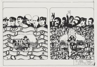 De la Realidad: Caracterización de las opciones 1 y 2 para El Sueño de la Casita Propia. Heliografia. 58,5 x 81 cm. 1972