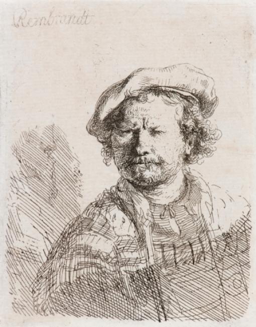 Autorretrato com Boina e Roupa Bordada (ca. 1642) Rembrandt van Rijn (1606-1669) Crédito: Iara Venanzi / Itaú Cultural
