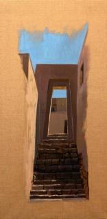 Ricardo Wiesse. Casa de las vírgenes del sol, óleo sobre tela, 110 x 50 cms. 2016