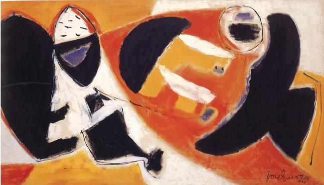 Esteban Vicente, Black Cries, 1953. Óleo sobre lienzo, 130,5 x 238 cm. Museo Nacional Centro de Arte Reina Sofía, Madrid — Cortesía del Museo de Arte Contemporáneo Esteban Vicente