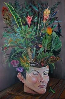 Dalton Gata, Sending my condolence to me (Self-portrait), Acrylic on canvas,  60 x 40 inches, 2018