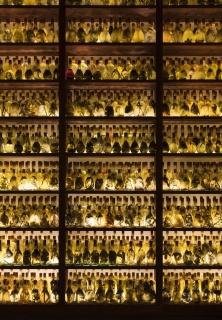 JOSÉ YAQUE - TUMBA ABIERTA III 2018 (detail), 7500 glass bottles, water, plant residues. Photo: Andrea Rossetti