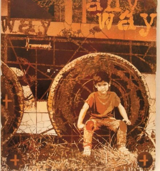 Any way, 2015. Stencils y Spray sobre Chapa de hierro. 58 x 65 cm.