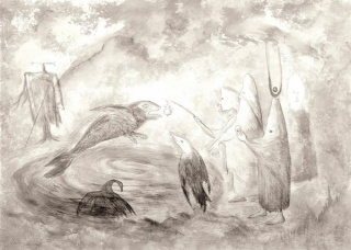 """Leonora Carrington, \""""Crow Soup,\"""" pencil, ink and gouache on Arches paper, 22 × 29¾ inches, 1997"""