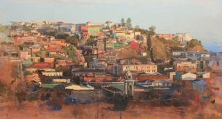 Àlex Prunés, La palabra escondida en un paisaje, óleo sobre tela, 73×130 cm.