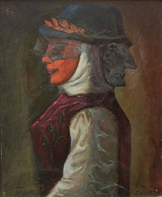 Extraña máscara Óleo - Hardboard 60 x 50 cm