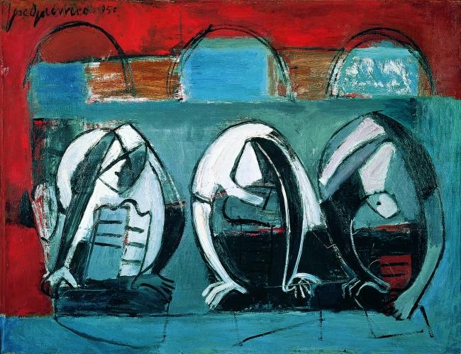 José Guerrero, Lavanderas, 1950. Óleo sobre lienzo, 50,5 x 65 cm. Colección familia Guerrero © José Guerrero, VEGAP, Segovia, 2019 — Cortesía del Museo de Arte Contemporáneo Esteban Vicente