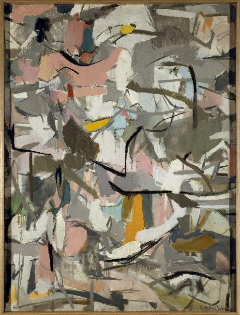 Esteban Vicente, Midwest, 1953. Óleo sobre lienzo, 122 x 91,5 cm. Museo Nacional Centro de Arte Reina Sofía, Madrid — Cortesía del Museo de Arte Contemporáneo Esteban Vicente