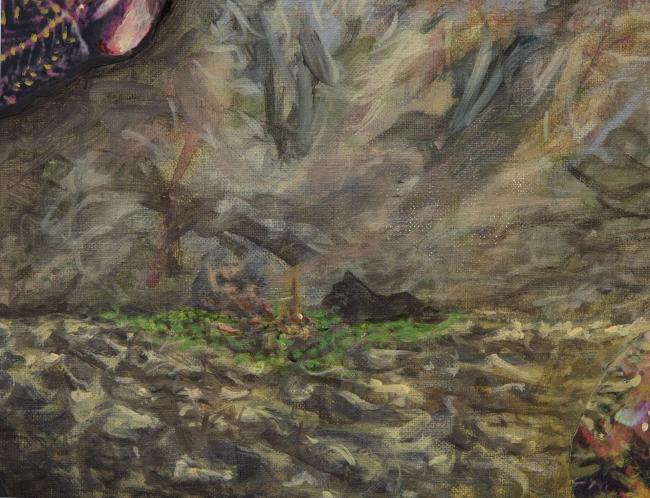 Fuego en el centro de la tregua, fragmento de obra La Tregua de Idoia Montón — Cortesía de Ana Mas Projects