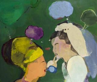 Cristina Canale, Cerimonia, 2019. Mista sobre tela, 165x140cm. — Cortesía de Silvia Cintra Galeria de Arte + Box 4