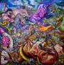 MIguel Scheroff, Odio, lobos y caballos. Óleo sobre lienzo. 200x200 cm. 2019 — Cortesía de Di Gallery