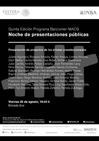 Presentación de los artistas preseleccionados.