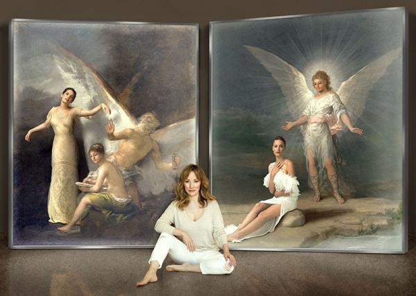 """Retrato de Denise de la Rue junto a dos fotografías de la serie """"Ángelas"""""""