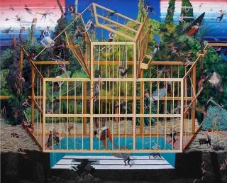 Simón Arrebola, La gran desbandada. Óleo sobre lienzo. 165x195cm. 2018 — Cortesía de la Galería Herrero de Tejada