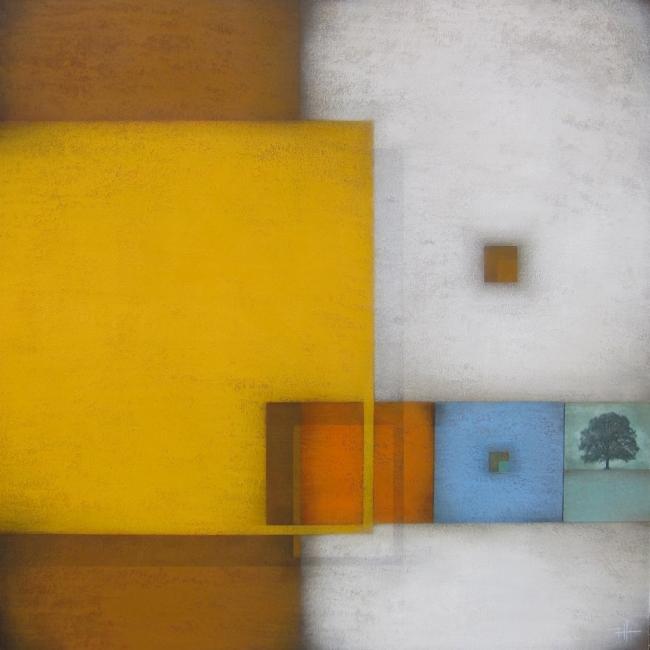 FRANK JENSEN, El Jardí. Acrílic s/tela, 100X100 cm. — Cortesía de la galería Jordi Barnadas