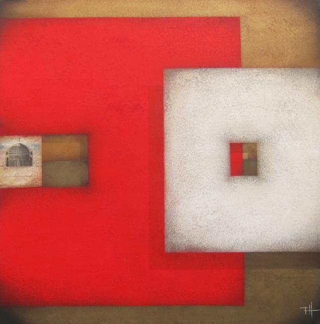 FRANK JENSEN, Roma, Acrílic s/tela, 100x100 cm. — Cortesía de la galería Jordi Barnadas