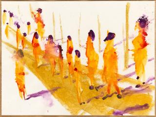 Miquel Barceló (1957), Defilé, 2019. Acuarela sobre papel, 47,7 x 63,6 cm. Colección del artista © Foto: André Morin, 2020 © Miquel Barceló, VEGAP, Málaga, 2020 — Cortesía del Museo Picasso Málaga