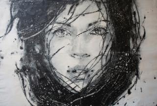 Lídia Masllorens, Sin título V. Técnica mixta sobre papel, 120 x 180 cm.