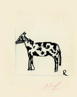 Ramón Gómez de la Serna, Greguerías, 4ª, Blanco y Negro, núm. 2.295, 14 de julio de 1935. Tinta y lápiz sobre cartón. Museo ABC, Madrid.