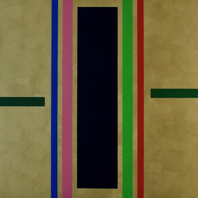 Freddy Rodríguez, Complementing Gold, acrílico sobre tela, 102 x 102 cms. 2019