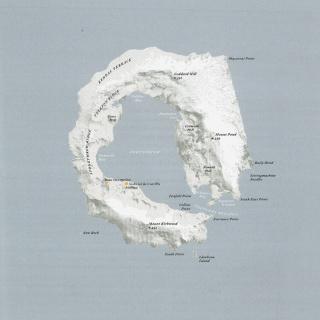 Isla Decepción, Islas Shetland del Sud (Antártida) - Océano Antártico (62º 57' S - 60º 38' O / 98,5 Km2 deshabitada).  Ilustración: Judith Schalansky, Fuente: Atlas de Islas Remotas, Capitán Swing · Nørdicalibros 2013 — Cortesía de Palmadotze