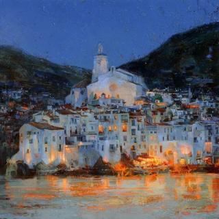 Evdokim Perevalsky, Cadaqués. Óleo sobre lienzo. 80 x 80 cm. — Cortesía de OmniumArs Galería de Arte